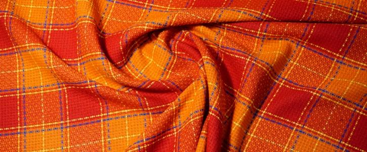 Leinen - orange/rotes Karo