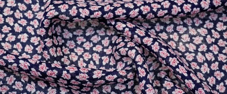 leichtes Leinen - Blumen auf blau