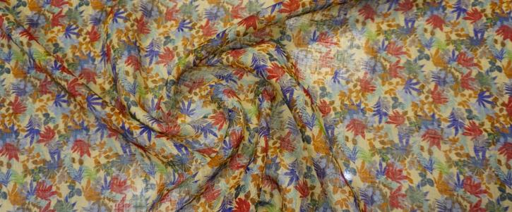 Blusenleinen - Blumen auf gelb
