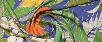 Tencel - Blumen auf blau