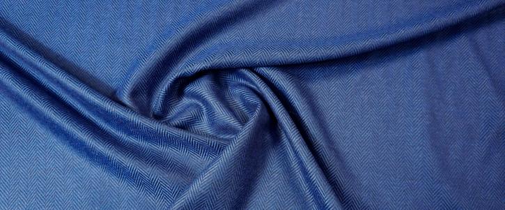 Schurwolle - Fishgrät, blau-schwarz
