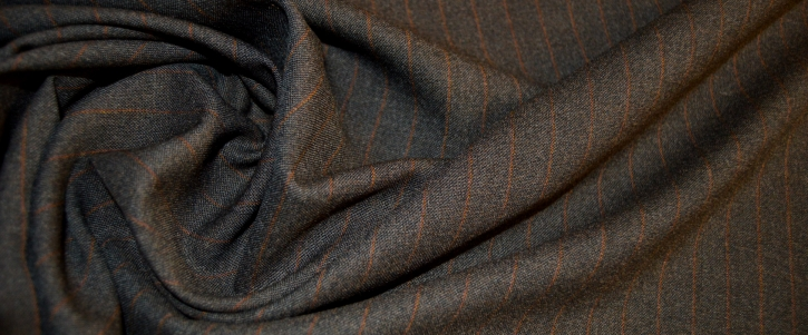 Coupon Stretchschurwolle - grau mit Streifen