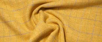 Schurwolle - gelb mit Karo