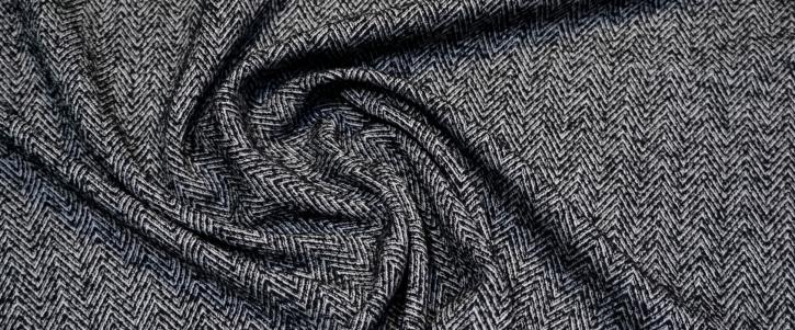 Schurwolle - Fischgrät, schwarz/weiß