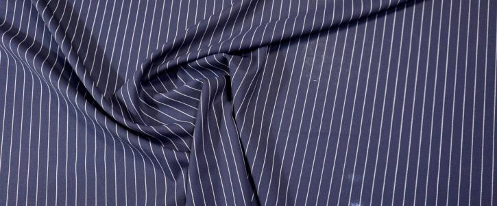 Schurwolle - Nadelstreifen auf dunkelblau