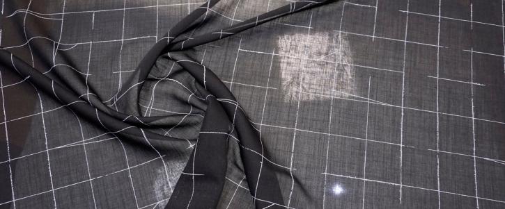 leichte Schurwolle - Striche auf schwarz