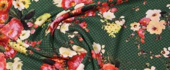 elastischer Crepe - Blumen auf grün