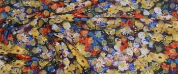 Schurwolljersey - Blumen und goldenen Punkten