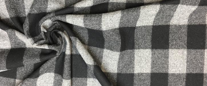 Schurwolle - Karo, grau/schwarz