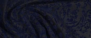 Schurwollmischung mit Samt - schwarz/blau