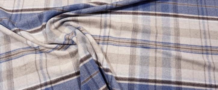 Schurwollmix - blau mit beige