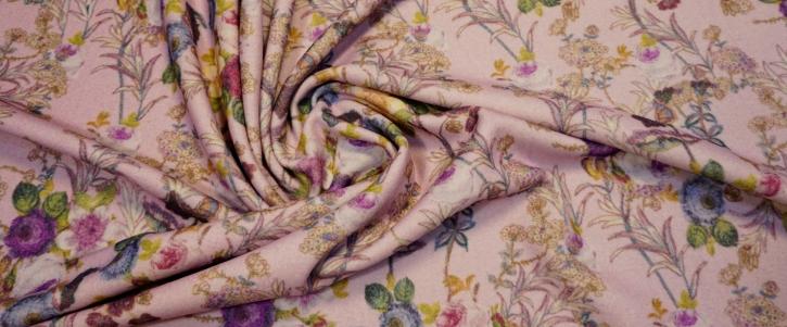 Schurwollmischung - Blumen auf rosa