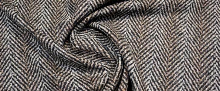 Schurwollmix Fischgrät - schwarz/beige