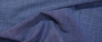 Schurwolle mit Leinen - blau/weiß