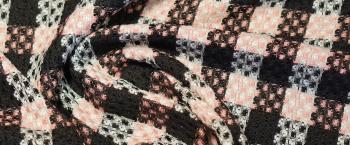 Schurwollmischung - schwarz/weiß/rosa