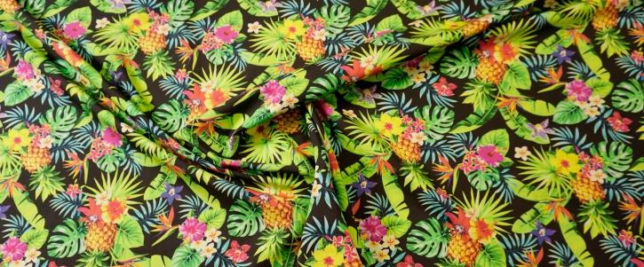 Baumwolle - tropischer Print mit Ananas