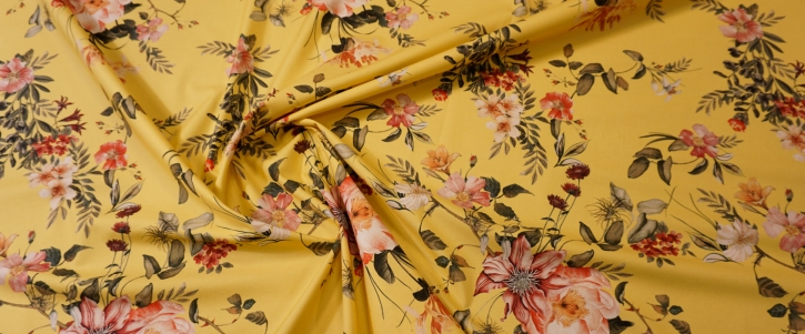 Rest, Baumwollstretch - gelb mit Blumen