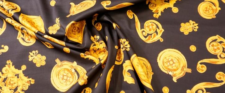 Baumwolle - schwarz mit gold