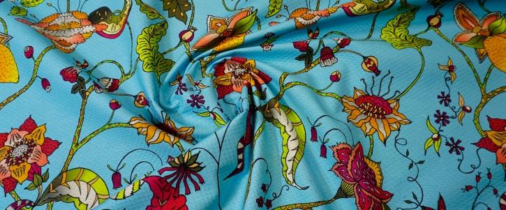 Rest, Baumwollpikee - Blumen auf himmelblau
