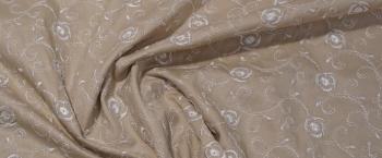 bestickte Baumwolle - beige/weiß