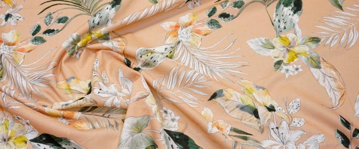 Rest Baumwolle - floraler Print auf beigerot