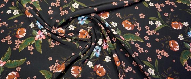 Baumwolle - Blumen auf schwarz
