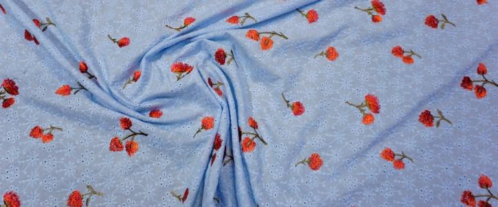 Lochstickerei - hellblau mit rot