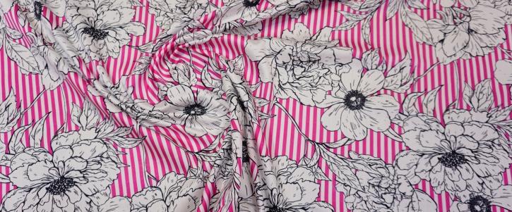 Rest Baumwolle - Blumen auf Streifen