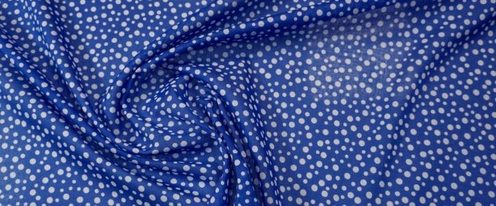 Baumwolle - blau mit weißen Punkten