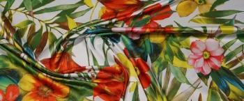 Rest Baumwollstretch - Blumen und Blätter