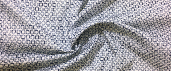Baumwollstrech - weiß/dunkelblau