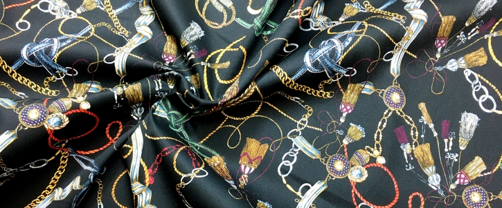 elastische Baumwolle - schwarz-bunt