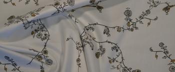Baumwollstretch - Vögel und Blumen