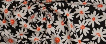 Baumwollstretch - Blumen auf schwarz