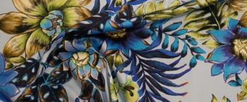 Baumwollstretch - blauer Floralprint