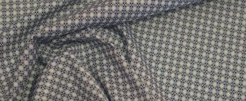 Baumwollstretch - weiß und blau