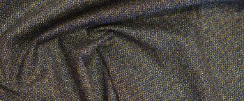 Baumwollstretch - blau/weiß mit gold