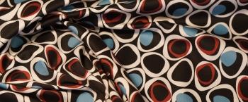 Baumwollstretch - schwarz mit rot und blau
