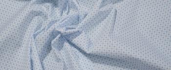 Baumwollstretch - weiß mit blauen Muster