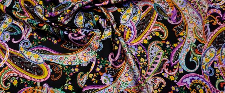 Baumwollstretch - Paisley auf schwarz