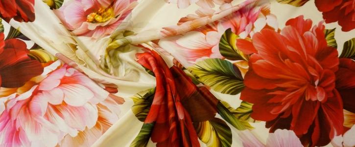 Baumwoll-Seiden-Batist - floral