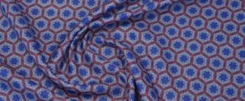 Baumwolle mit Seide - blau/rot