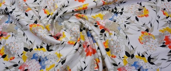 Rest Baumwolle mit Seide - Blumen