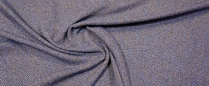 Baumwolle mit Schurwolle - blau/beige