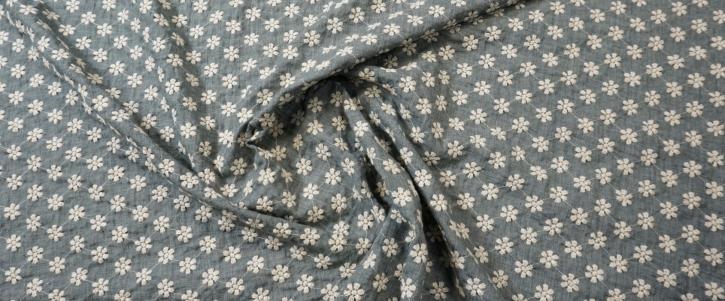 Baumwollmix - Blümchen, taubenblau