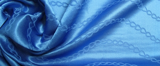 Satin, Jacquard - himmelblau