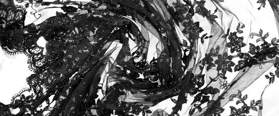 Tüllspitze mit Perlen - schwarz