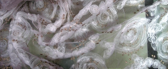 Tüllspitze mit Blütenapplikation, weiß mit silber