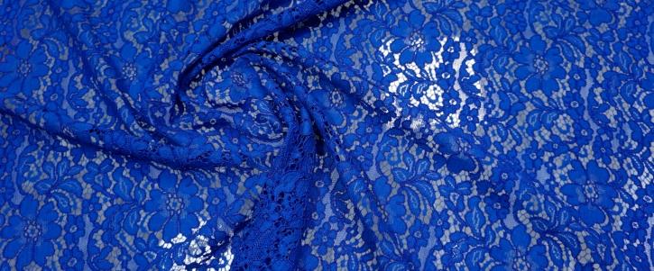 Spachtelspitze - florales Muster, königsblau