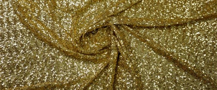 Mini-Pailletten in gold auf Stretch-Tüll